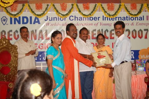 Momento receiving from Indian Jaycees, Vijayawada